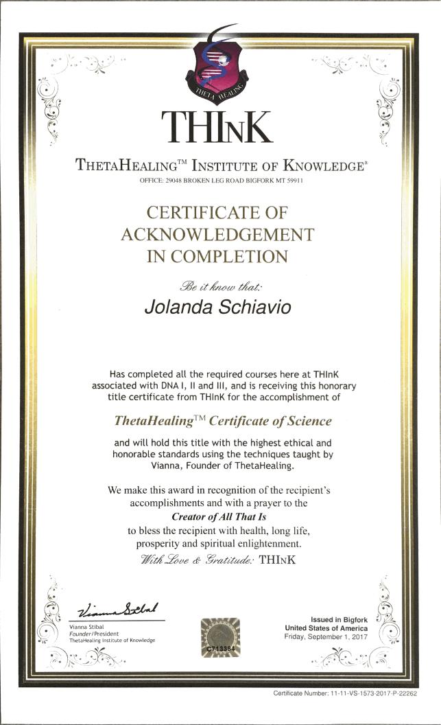 ThetaHealing Certificate of Science
